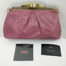 Hobo Hayley Clutch Handbag Purse Dusty Purple Leather Satin Gold Clasp  Photo