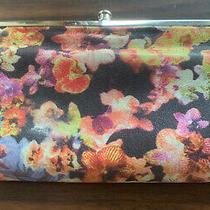 Hobo Int Lauren 2x Kiss Clasp Floral Soft Leather Clutch Wallet Beautiful Euc Photo