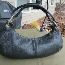 Hobo International Black Leather Shoulder Handbag Purse Small Barrel Bag 15 X 7