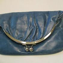 Hobo International Blue Leather Skyler Foldover Clutch Wallet Kiss Lock Photo