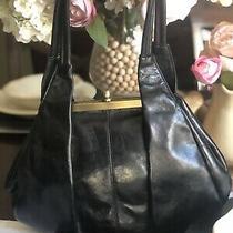 Hobo International Bonnie Black Leather Framed Kiss Lock Shoulder Bag Nw Wallet Photo