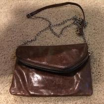 Hobo International Daria Brown Distressed Leather Zip Foldover Clutch W/chain  Photo