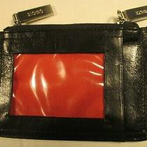 Hobo International Double Coin Purse Id Wallet Black Leather Red Lining Photo