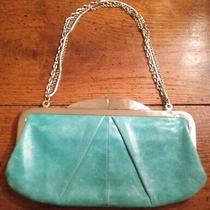 Hobo International Hayley Turquoise Leather Silver Chain Clutch Wallet  Handbag Photo