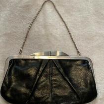 Hobo International Hayward Black Convertible Leather  Kiss Lock Clutch Handbag Photo