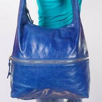 Hobo International Large Blue Leather Shoulder Hobo Tote Satchel Purse Bag Photo
