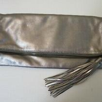 Hobo International Large Silver Leather Bi Fold Clutch With Tassel  Photo