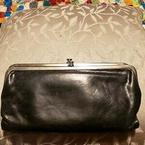 Hobo International Lauren Black Leather Bifold Clutch Kisslock Wallet Photo