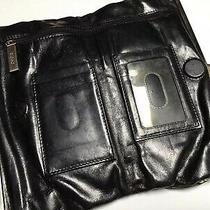 Hobo International Lauren Black Leather Double Kisslock Clutch Wallet Photo