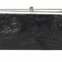Hobo International Lauren Embossed Floral Black 100% Leather Clutch Wallet148 Photo