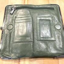 Hobo International Lauren Green Vintage Hyde Leather Clutch/wallet/purse  Photo