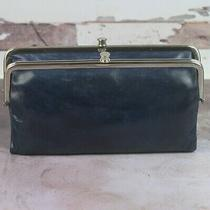 Hobo International Lauren Leather Bifold Wallet Clutch Indigo Blue Navy Blue Photo