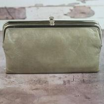 Hobo International Lauren Leather Bifold Wallet Clutch Stone Taupe Gray Photo