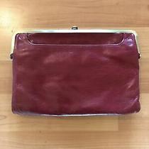 Hobo International Lauren Wine Red Pink Leather Frame Clutch Wallet Handbag Photo