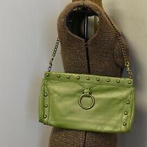 Hobo International Metallic Green Shoulder Bag/clutch/orange Lining/chain Strap Photo