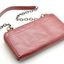 Hobo International Red Leather Clutch Zip Around Wallet Purse Convertible Ruby Photo