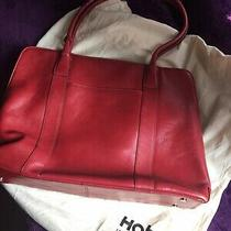 Hobo International Red Leather Zipper Tote Handbag Purse Career Organizer Photo