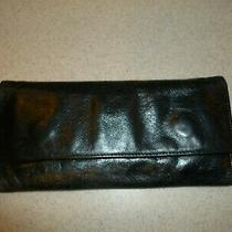 Hobo International Sadie Leather Trifold Long Wallet Clutch Patent Black Photo