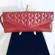 Hobo International Shiny Raine Red Leather Fold Over Clutch Handbag New No Tag Photo