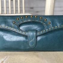 Hobo International Teal Blue Leather Foldover Envelope Evening Clutch Bag Studs Photo