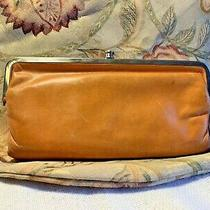 Hobo Lauren Soft Leather Wallet Clutch Double Hinge Frame Kiss Lock Orange Vgc Photo