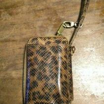 Hobo Pebbled Leather Card Phone Case Wristlet Brown Leopard  Photo