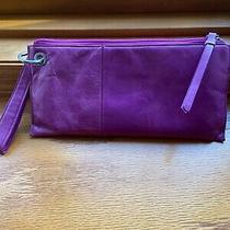 Hobo Purple Leather Wristlet Clutch Wallet Photo