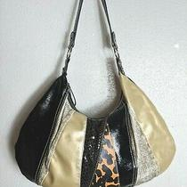 Hobo Shoulder Bag Brown Black Gold Multi-Texture Material Hand Bag Purse Photo