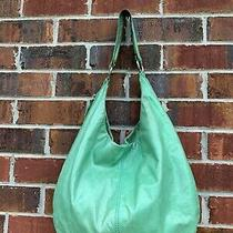 Hobo the Original Shoulder Bag Purse Distressed Green Leather Handbag Tote Photo