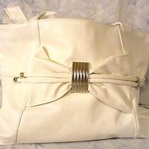 Hobo Tote Purse Handbag Faux Leather Silver Black or White W/ Big Bow & Beads  Photo
