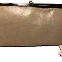 Hobo Vintage Look Lauren Genuine Leather Bifold Kiss Lock Wallet Linen 128 Photo