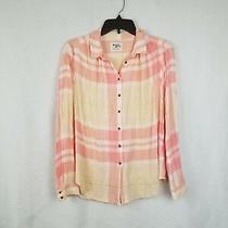 Holding Horses Anthropologie 'Gailen' Blush Pink Gold Plaid Ls Button Up Shirt 4 Photo