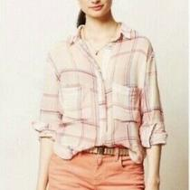 Holding Horses Anthropologie S Pink Pocket Blushed Plaid Button Down Shirt Top Photo