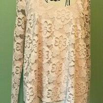 Hollister Lace Tiered Floral Long Sleeve Scoop Neck Top Blouse Blush Large Photo