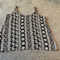 Hollister Ladies Black and White Floral Vest Top (Medium) Excellent . Photo