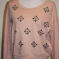 Hollister Size Large Blush Colored Embellished Long Sleeve Crop Top Sweater Photo