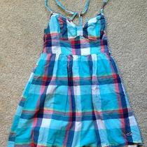 Hollister Xs Summer Dress Aqua/multicolor Plaid Photo