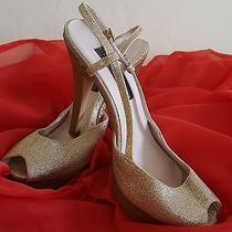 Hollywood Glam Steve Madden Luxe Glitter Gold Peep Toe Wedding Heels Bridal  Photo