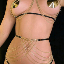Honey Birdette Ariana Gold Chain Bralette Holster Brief Small Set 4 Express Photo
