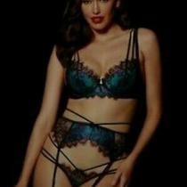 Honey Birdette Bianca Teal 12e 34e Bra Suspender Thong Lingerie Set 4 Express Photo