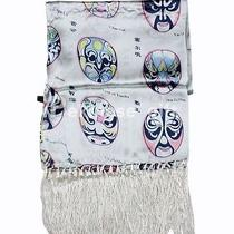 Honeydew Oblong Silk Scarf Art Painting With Drama Mask Photo