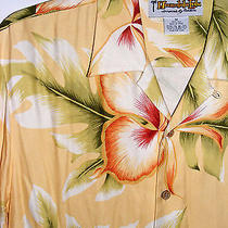 Honolulu Lulu M Shirt Button Hawaiian Tropical Floral Casual Camp Yellow  Photo
