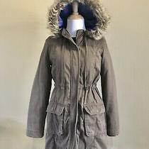 Hooded Jacket Coat Brown Women Xs Faux Fur Lined Hood Cinched Waist Old Navy Photo