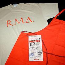 Hooters Uniform Ft Campbell Xl T Shirt Chef Apron Signed Menu Halloween Costume Photo
