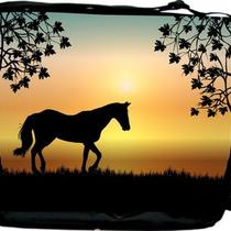 Horse Silhouette on Aqua Sunset Messenger Book Bag Photo