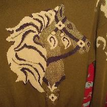 Horse  Sweater Escada Knit Equestrian Christmas Barn Party Golds Photo