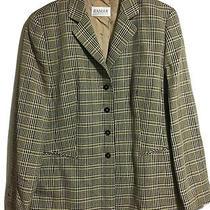 Horst Basler Vtg 90s Womens Uk 14 Check Plaid Blazer Jacket Cream Black Classic Photo