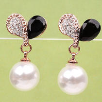 Hot 14k Rose Gold Filled Women Black Austrian Crystal Pearl Dangle Earrings D803 Photo