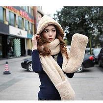 Hot 3in1 Winter Warm Hooded Cap Earflap Trendy Lady Lamb Plush Wrap Scarf Hat Gl Photo