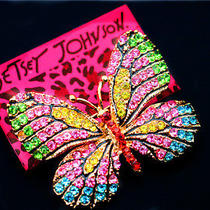 Hot Betsey Johnson Beautiful Female Crystal Butterfly Beautiful Prom Brooch Pin Photo